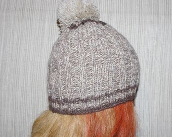 100% lambswool Brown Gray hand knit hat for men or women with pom-pom