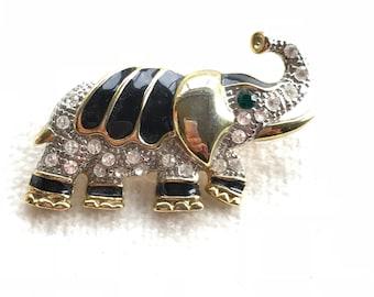 Vintage enamel elephant brooch