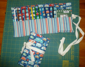 Pencil roll and sketch book