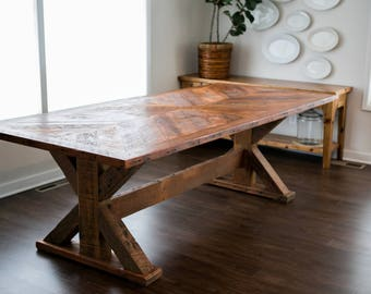 Reclaimed Wood dining table, Fir, Furniture, Dining Room, Custom Made, Salvaged Wood, Home Decor, Reclaimed Table, trestle table, farmhouse