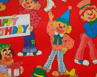 Vintage 1970s Gift Wrap Happy Birthday Comical Clowns - 1 Sheet Vintage Wrapping Paper