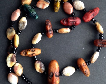 Tribal face Necklace with 11 Hand Sculpted Faces - Beaded Necklace - Hippie Necklace - Gemstone Bead Necklace - Artisan Jewelry