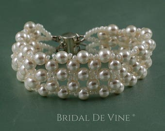 Ivory or White Pearl Bridal Beaded Cuff Bracelet