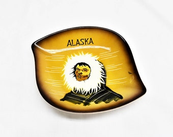 Vintage Matthew Adams Eskimo Dish, Mid Century Sascha Brastoff, California Pottery, Alaska Collectible Dish