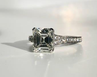 Square Emerald Cut Diamond Ring,Square Diamond Ring,Emerald Cut Diamond Ring,Square Diamond Platinum Ring,Diamond Birthstone April Ring