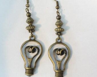 Steampunk  Earrings Edison Light Bulb