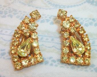 Vintage Yellow Rhinestone Clip On Earrings