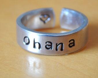 OHANA Cuff Ring Hand Stamped Aluminum Cuff Ring