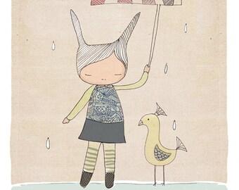 Children's Wall Art Decor - Honey Cup and Mr Bird - Art Print (21x29.7cm)