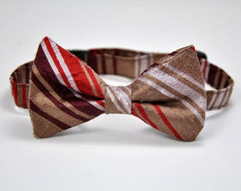 Brown Striped Silk Boy's Bow Tie Ready To Ship