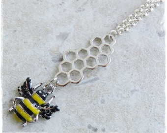 Enamel Bumble Bee necklace, Bee necklace