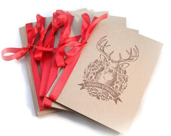 Christmas Cards, Deer Cards, Wreath Cards, Rustic Christmas Cards, Holiday Card Set, Season's Greetings, Blank Card Set, Gift Enclosures