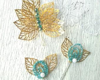 Gold wedding hairpins, wedding hairpiece, bridal hair pin, set twig and pins, leaves hair pins wedding
