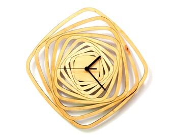 Whirl - contemporary modern wall clock made of wood, wooden clock, wood wall art