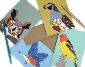 Bird Note Cards Mix + Match 16 | Printed on Recycled Paper | blank card wildlife birder nature modern hummingbird outdoors audubon