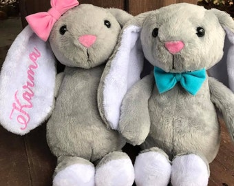 Easter Bunny, Personalized Easter Bunny, Easter Plush, Boy Bunny, Girl Bunny, Bow Tie Bunny, Pink Hairbow Bunny, Customized Easter Bunny