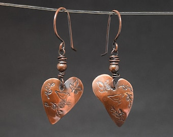 Copper Heart Earrings Stamped with Birds and Vines