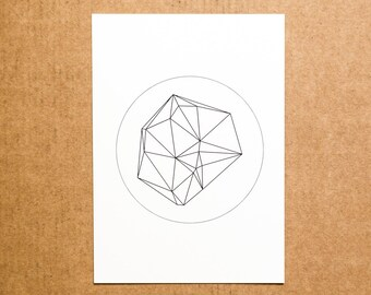 Geometric Postcard with Low Poly triangle print - mathematical graphic abstract minimal - black and white - geometry - decorative - meteor