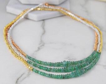 Emerald Necklace, Gemstone Necklace, Green Emerald Necklace, Gold Jewelry, Silver Necklace, Layered Necklace, Birthstone Necklace, Necklaces