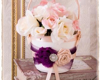 Plum Flower Girl Basket, Plum and Blush Flower Girl Basket, Wine Petal Basket, Wedding Accessories, Flower Girl Basket, Custom Color Wedding