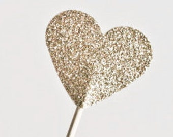 Set of 25 | Gold and/or Silver Glitter Heart Drink Stirrers or Cupcake Toppers