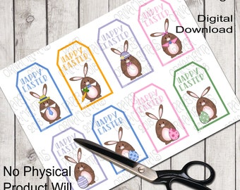 Printable Gift Tags Party Favor Tags Easter Bunny Art Digital Gift Tags Instant Download Brown Bunny Graphics Purple And Green Blue And Pink