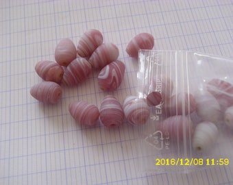 set of 18 pink old oval ribbed 10X14mm(trou de 1mm) glass beads