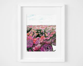 knitted peony watercolor illustration art print | gifts for knitters, flower child, craft, yarn, magic, decoration