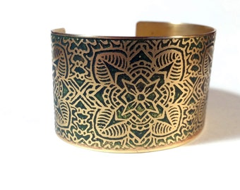 Etched Brass Cuff Bracelet Art Deco Flowers - Free Domestic Shipping