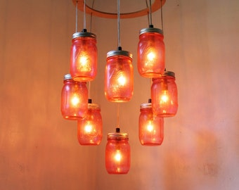 St. Valentines PINK Heart Shaped Mason Jar Chandelier - Rustic Hanging Pendant Lighting Fixture - Direct Hardwire - BootsNGus Lamp Design
