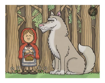 Red Riding Hood - Children's Art - Nursery Prints - Art for Kids Room - Kid Wall Art - Illustration Print