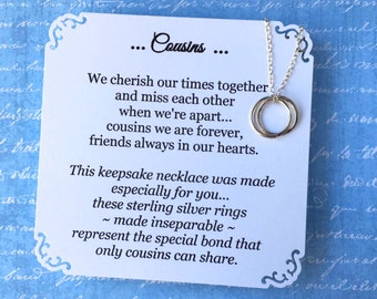 GIFT for COUSINS Necklace w POEM Card for 2 or 3 Cousins Connected RiNGS Sterling Silver Jewelry for Cousin Gift Poem Gift Wrapped