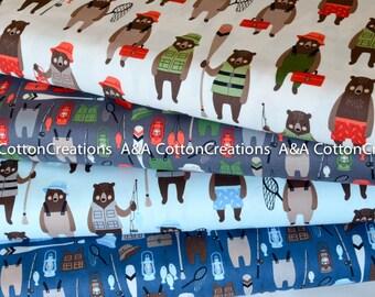 Brawny Bears Quilting Cotton Bundle of 4, Camping fabric, Red Black Plaid, Fishing Boy Fabric, Animal Fabric, Robert Kaufman Fabrics