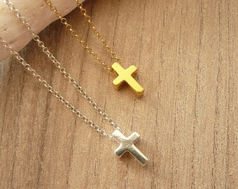 Sterling Silver Cross Necklace,  Small Cross Necklace, Dainty Necklace, Gold Cross Necklace, Minimalist Necklace