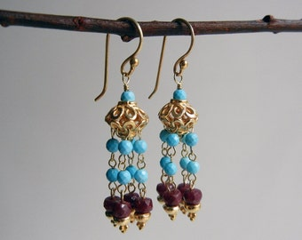 Turquoise and Ruby Mohana II Earrings