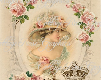 Large digital download Charmed in Paris French pink roses single image BUY 3 get one FREE