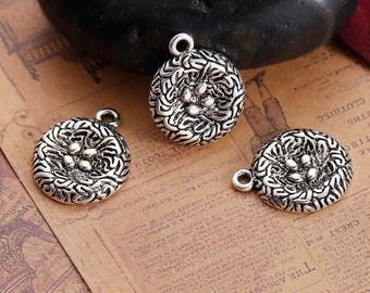 Tibetan Style Alloy Pendants, Antique Silver Bird Nests - Pack of 10 (1121)