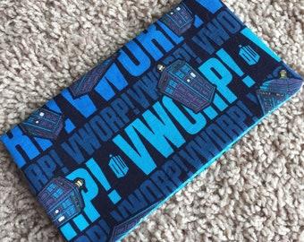 Doctor Who Fabric Checkbook Cover Handmade