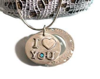 I love you necklace, Love necklace, Charm pendant necklace, sterling silver, Stamped necklace, Heart charm necklace, Valentine's day gift