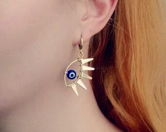 Evil Eye Dangle Earrings, Evil Eye Amulet Jewelry, Gold Eye Lash Earrings