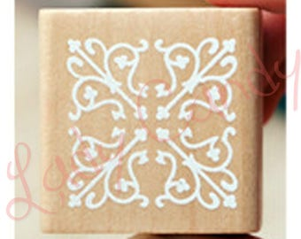 Wooden square pad Special flower lace #4053 Cardmaking embellishments
