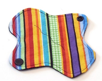 """6"""" Reusable Cloth winged ULTRATHIN Pantyliner - Rainbow Ribbon Stripes w Black back - Cotton flannel top"""