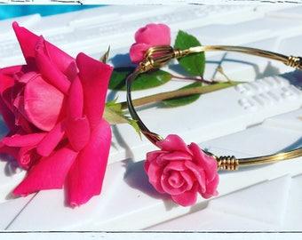 Pink Rosebud Bangle Bracelet