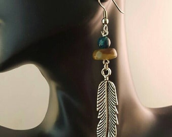 Feather dangle earrings with jade beads