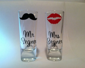 Personalized Bride and Groom Mustache and Lip Kiss Shot Glasses