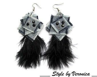 Denim jewelry Denim Earrings Jeans jewelry Black Feathers earrings Geometric jeans earrings Long Denim Earrings Denim Blue Denim Earrings
