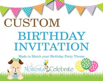 Custom Birthday Invitations, Custom Birthday Invite, Custom Birthday Invitation, Digital Birthday Invitations, Printable Birthday Invite
