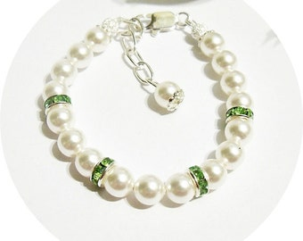 Green Kids Bracelet, Peridot Green, Flower Girl Jewelry, Easter Bracelet, Toddler Jewelry, August Birthstone, Dressy Bracelet, Passover