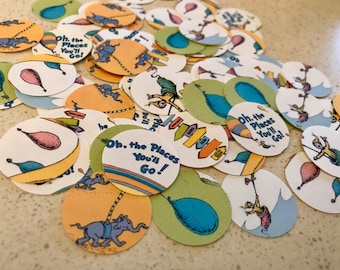 Oh The Places You'll Go Confetti - 100 Pieces 1 Inch Round - Baby Shower - Birthday Confetti - Dr. Seuss  Cupcake Toppers