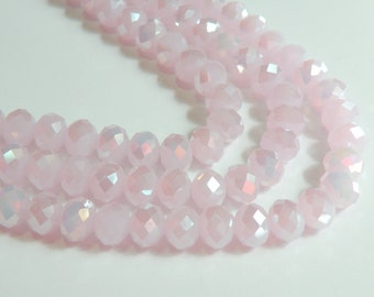 Soft Light Pink AB faceted glass rondelle opalescent beads 10x8mm full strand PEGLA-01AB
